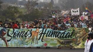 Unos 5000 santafesinos marcharon desde Rosario hasta Victoria contra las quemas en las islas