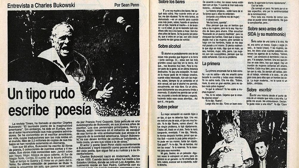 """La revista Fin de Siglo, publica la entrevista """"Un tipo rudo escribe poesía"""" por el joven actor y """"poeta"""" Sean Penn"""
