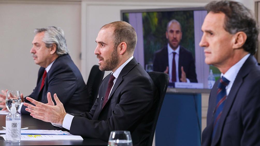 Fernández estuvo acompañado por los ministros de Economía, Martín Guzmán, y de Obras Públicas, Gabriel Katopodis.