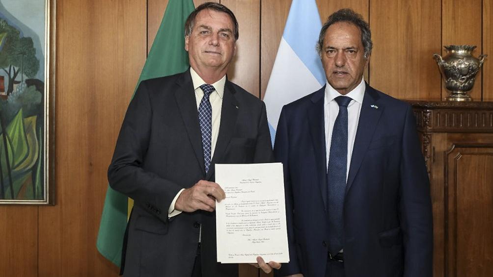 """""""Cuenten con nuestra buena voluntad. La rivalidad es sólo para el fútbol"""", había dicho Bolsonaro junto al embajador Daniel Scioli"""