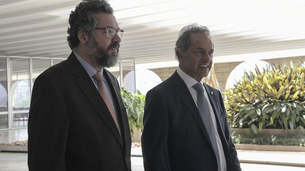 Daniel Scioli mantuvo un encuentro en el Palacio de Itamaraty con el ministro de Relaciones Exteriores brasileño.
