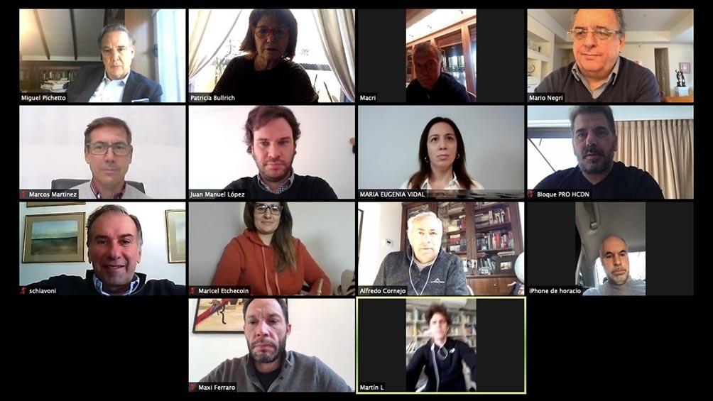La reunión virtual de este lunes de la Mesa de Juntos por el Cambio.