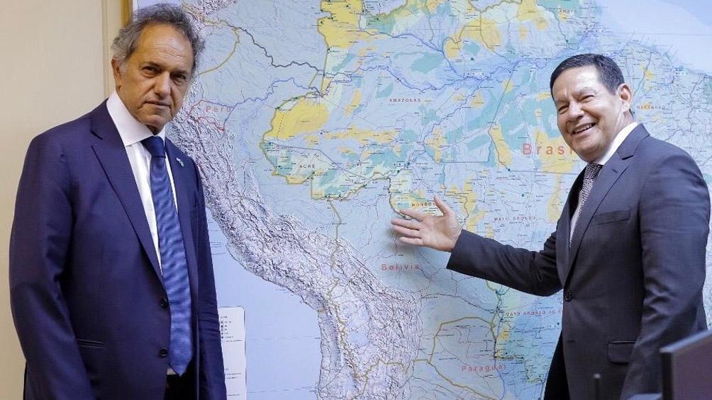 Scioli también se entrevistó con Hamilton Mourao, vicepresidente de Brasil.