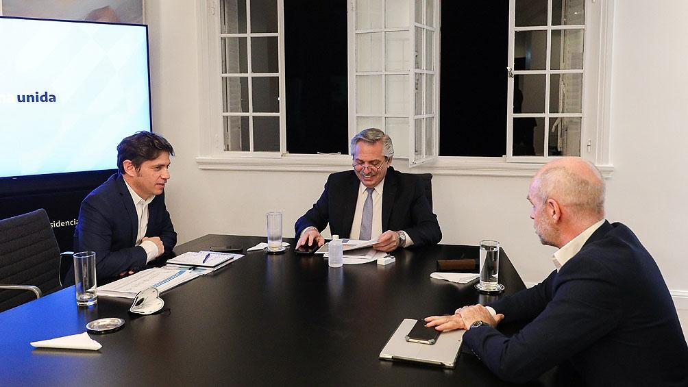 El Presidente, Horacio Rodríguez Larreta y Axel Kicillof se reunieron ayer en Olivos.