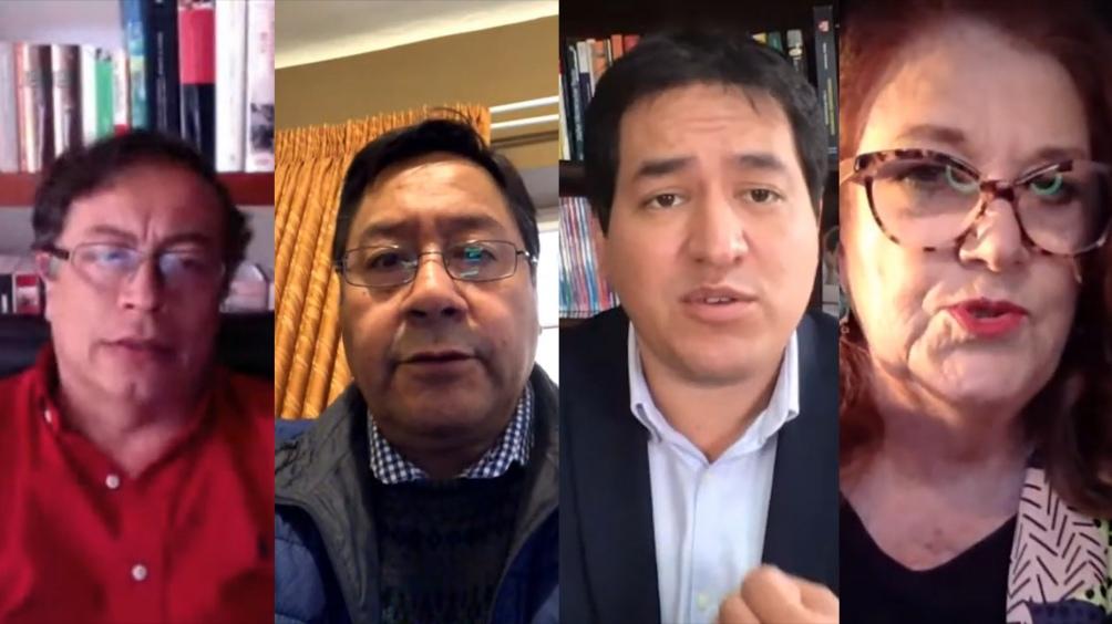 Los dirigentes de Bolivia, Ecuador y Colombia participaron de una mesa redonda.