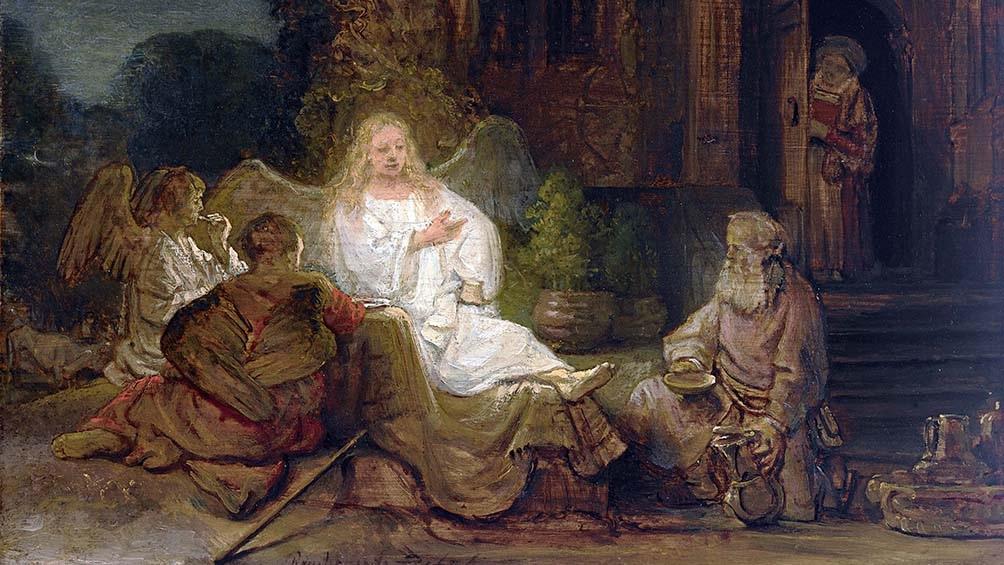 """""""Abraham y los ángeles"""" es una de las pocas pinturas del Antiguo Testamento del artista"""
