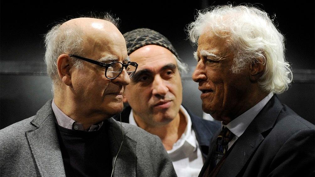 Junto a sus pares, el brasileño Ziraldo (Alves Pinto) y Miguel Repiso (Rep), en 2014.