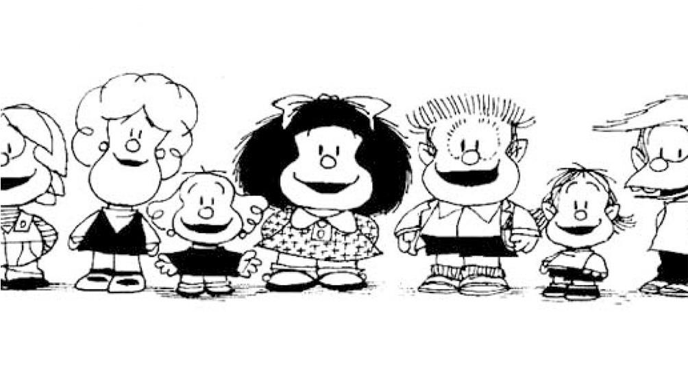 Mafalda no estaba sola: la acompañaban sus amigos Manolito, Felipe, Susanita, Miguelito y Libertad. Y su familia.