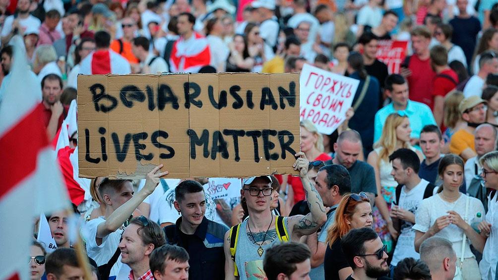 Protestas por los comicios realizados en Minsk