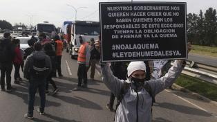 Ambientalistas cortaron puente y autopista para cesen las quemas en las islas del Paraná