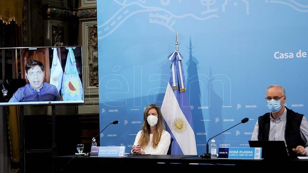 Kicillof participó de los anuncios desde la residencia oficial en La Plata, a través de una videoconferencia