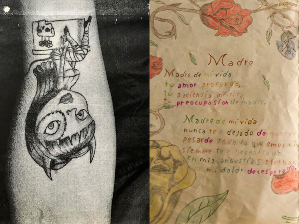 Tatuajes y poemas de su puño y letra para definir a un hombre violento.