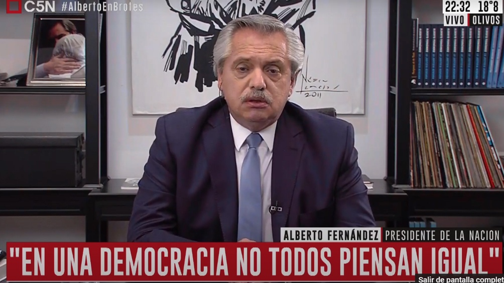 Alberto Fernández, entrevistado en Brotes Verdes, por C5N.