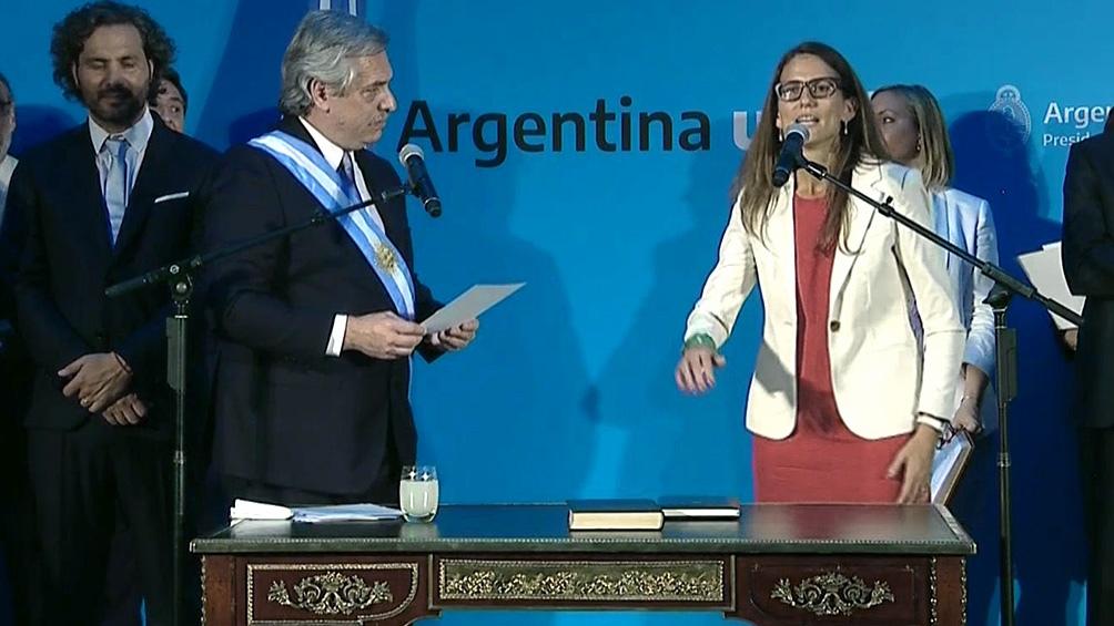 El Presidente, en la toma de juramento a Gómez Alcorta.