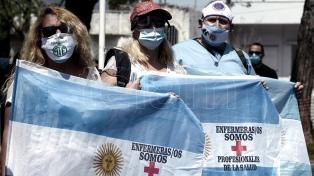 Acto, festival y acampe de enfermeros frente a la sede del Gobierno porteño