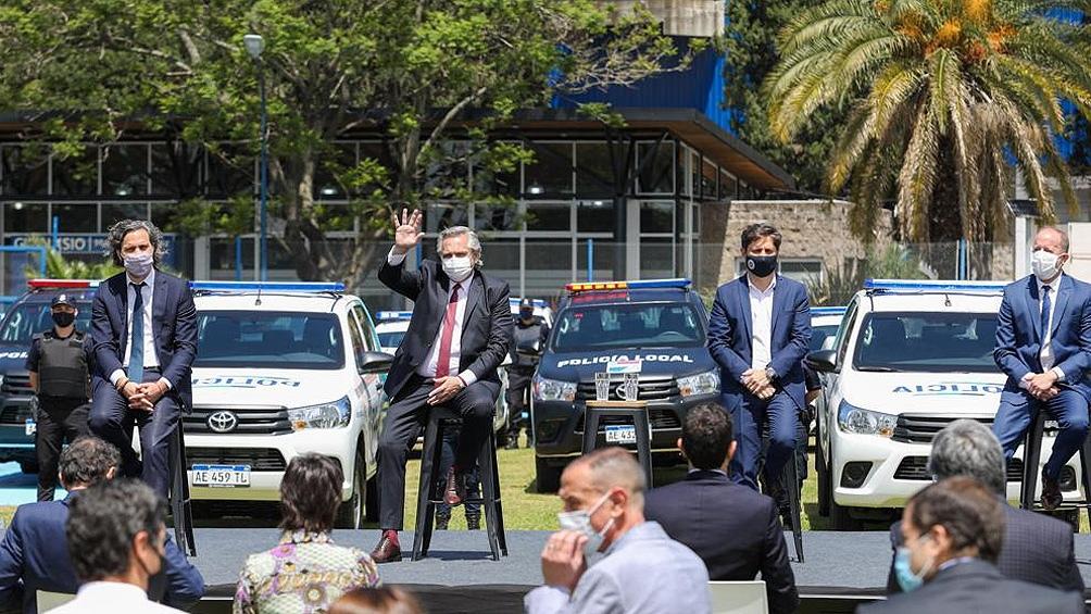 El Presidente encabezó un acto en el partido bonaerense de Lomas de Zamora.