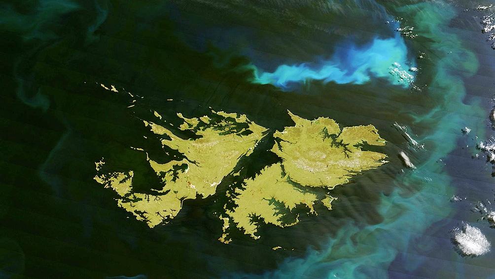 Vista satelital de nuestras Islas Malvinas.