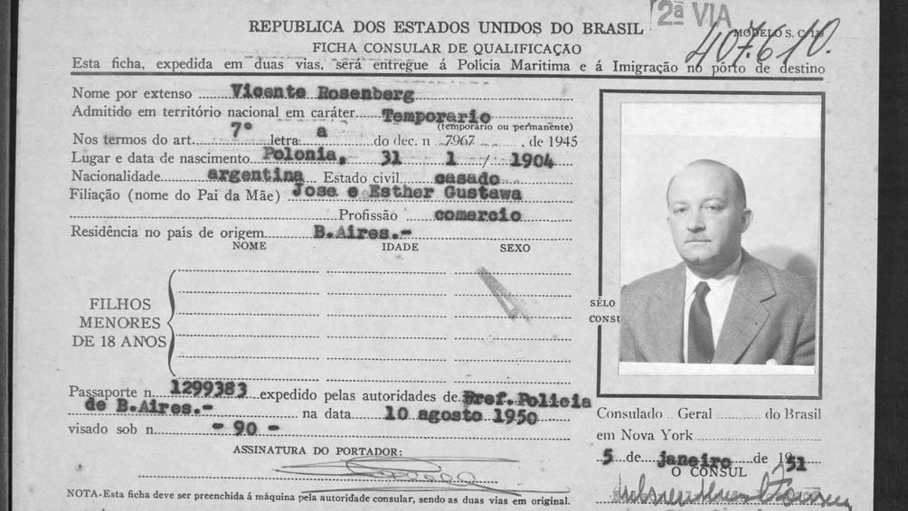 Ficha consular de Vicente Rosenberg.
