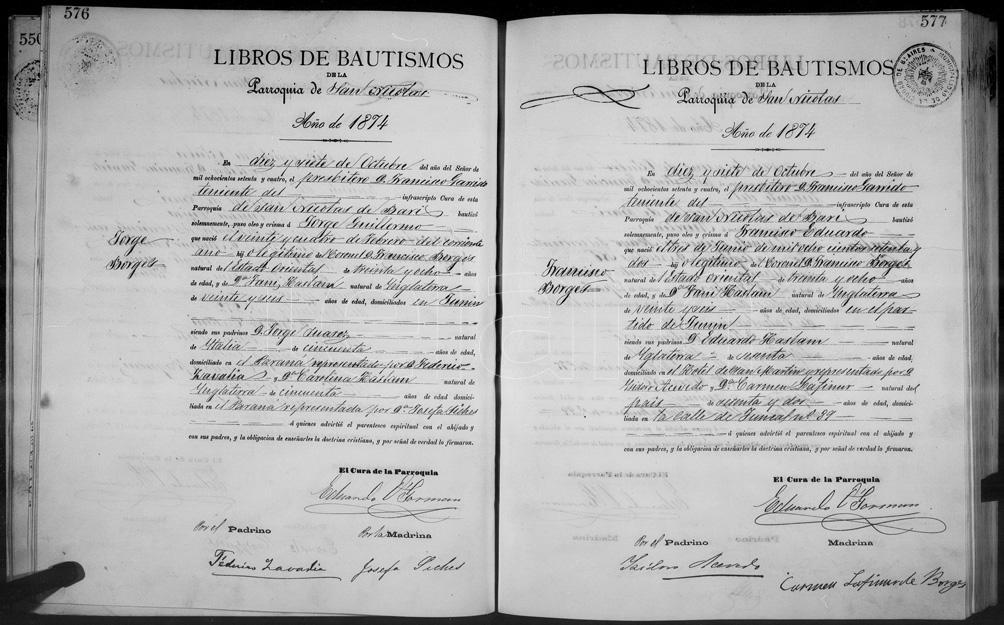 El acta de bautismo de los hijos de Francisco Borges.