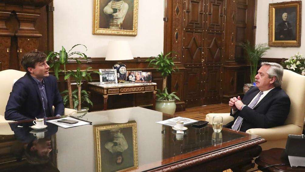 El presidente Alberto Fernández recibió en la Casa Rosada al intendente de Morón, Lucas Ghi,