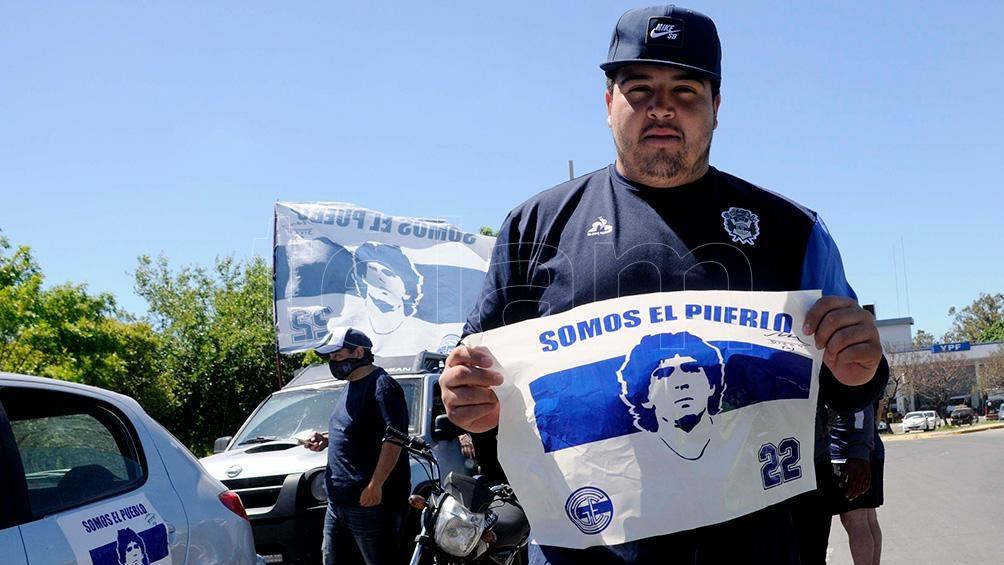 La imagen de Maradona, el emblema de la movilización.