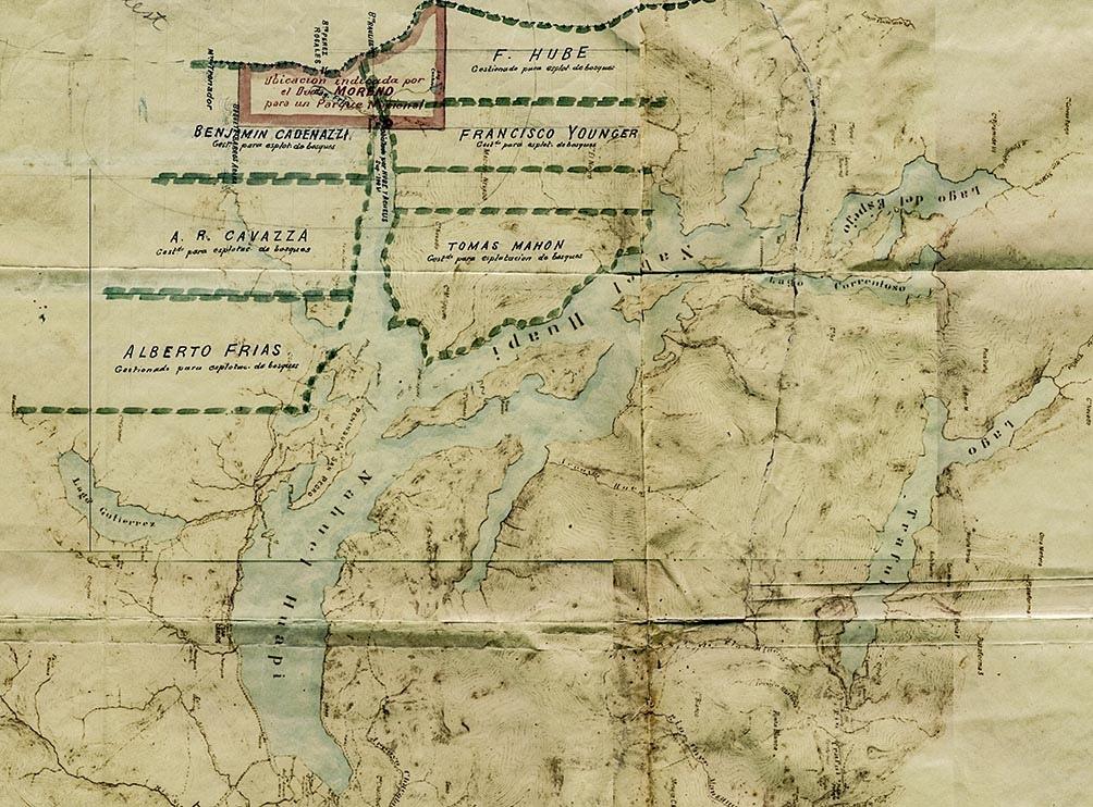 El mapa donde figuran las 7.500 hectáreas (en rojo) que legó el perito para la creación del primer Parque Nacional.