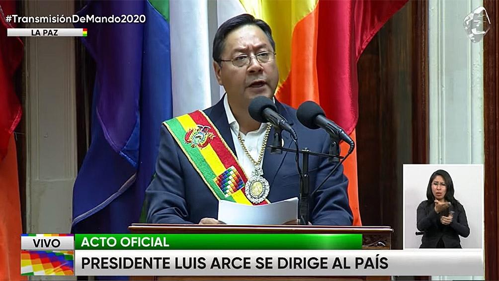 """""""Bolivia fue escenario de una guerra interna y sistemática contra el pueblo"""", denunció el flamante mandatario."""