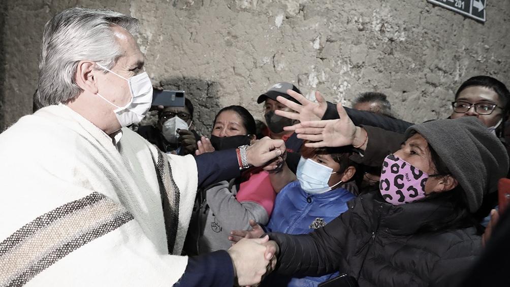 Alberto llegó a La Quiaca el sábado al final de la tarde para despedir a Evo Morales.
