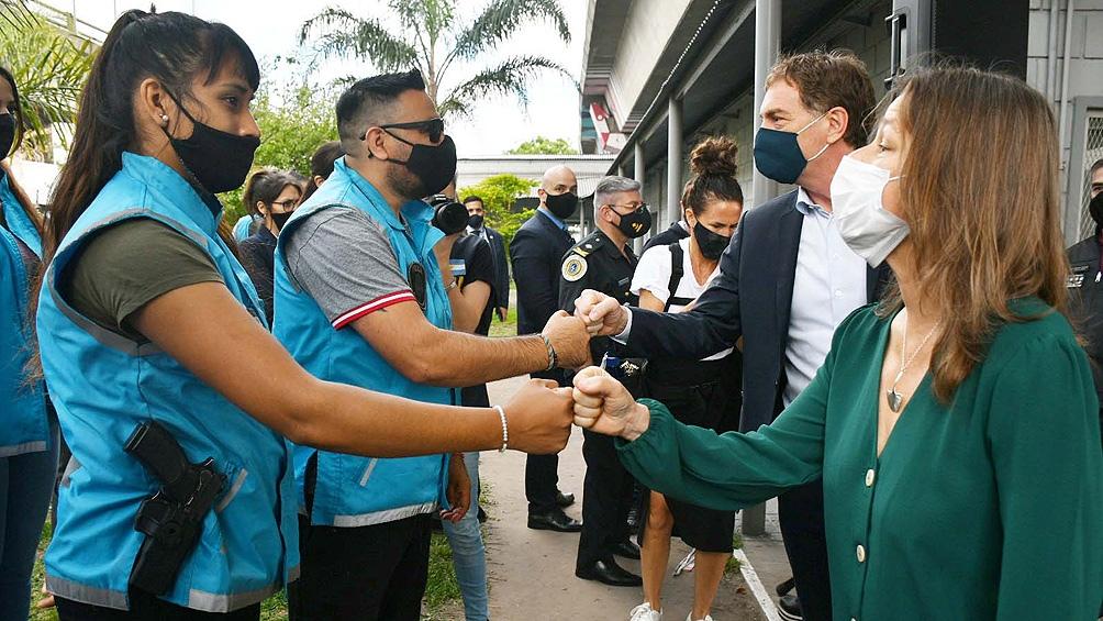 La ministra estuvo acompañada por el vicejefe de Gobierno porteño a cargo del Ministerio de Justicia y Seguridad, Diego Santilli.