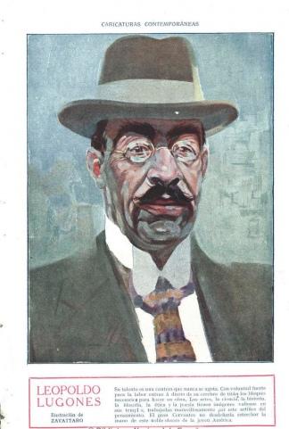 Leopoldo Lugones en Caras y caretas (Buenos Aires). 15/3/1913, n.º 754, página 80. Ilustración de ZAVATTARO