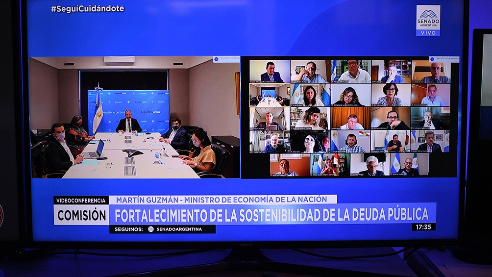 Martín Guzmán les explicó los alcances del proyecto a los senadores por videconferencia.