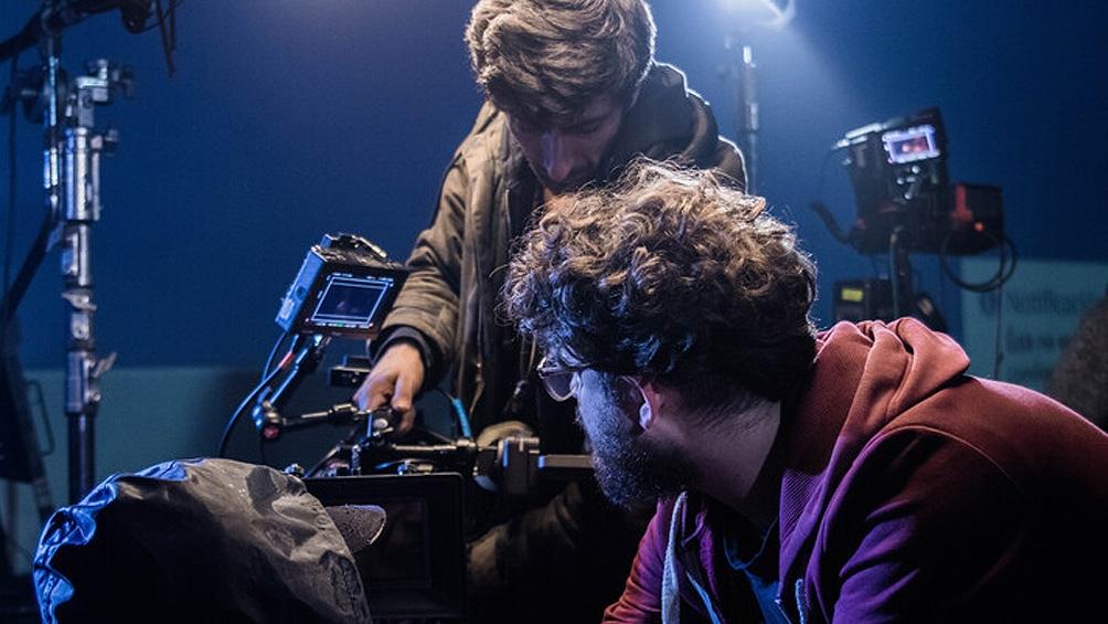 Maxi Contenti durante el rodaje de la película.