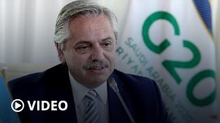 """Alberto Fernández, en el G20: """"Debemos atacar la desigualdad para vivir en un mundo más equilibrado"""""""