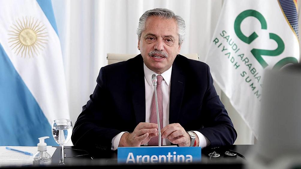Alberto Fernández durante la Cumbre de Líderes