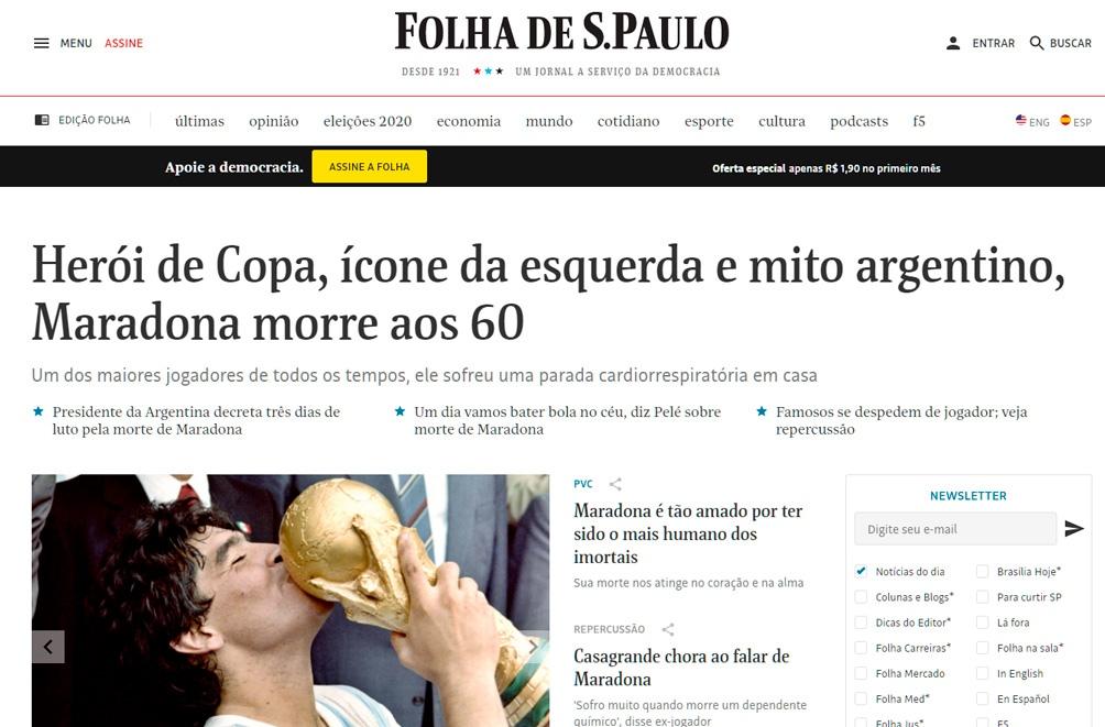 La muerte de Diego en la portada de Folha de Sao Paulo.
