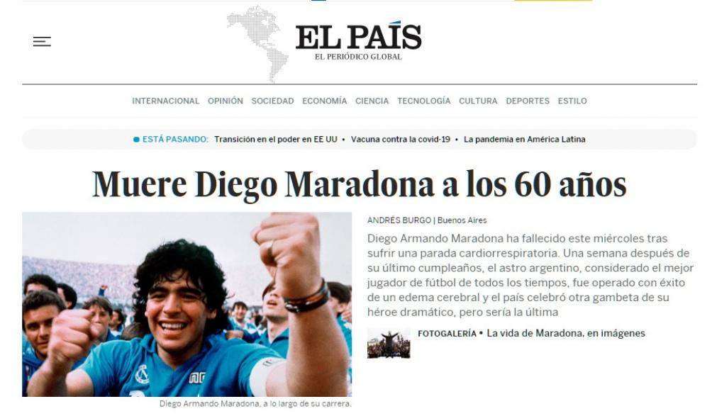 El adiós al Diez en El País de España.