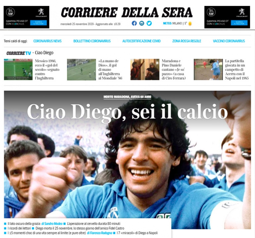 La despedida en el Corriere Della Sera.