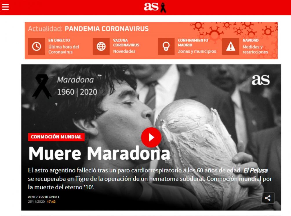 El diario deportivo As de España dio cuenta de la muerte del Diez.