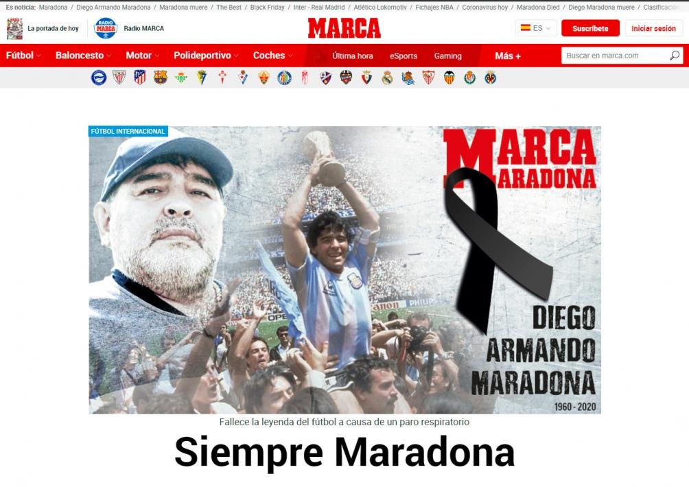 Marca, otro medio de Deportes español, y el dolor por Diego.