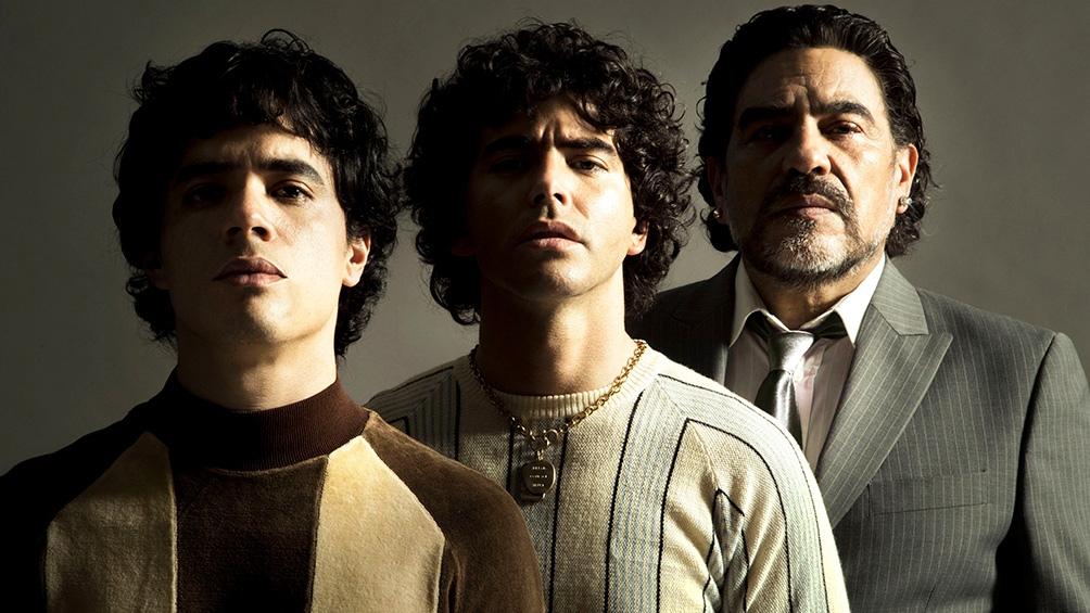 Los tres Maradona según Amazon: Nicolás Goldschmidt (niño), Nazareno Casero (joven) y Juan Palomino (adulto).