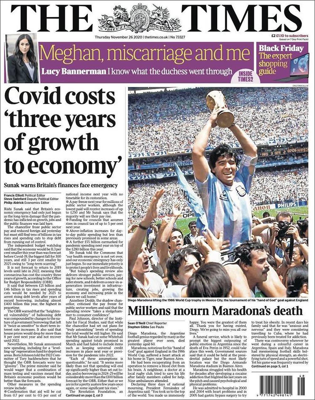El impacto de la muerte de Maradona, reflejado en los titulares del mundo.