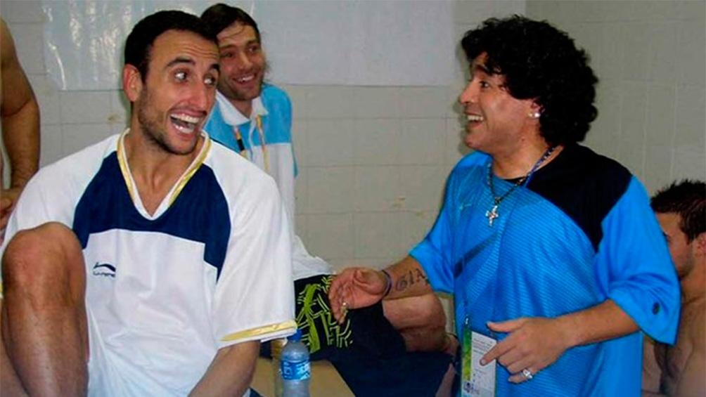 Ginóbili y Maradona en los Juegos Olímpicos de Beijing 2008