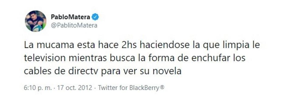 Los tuits borrados de la cuenta de Matera.
