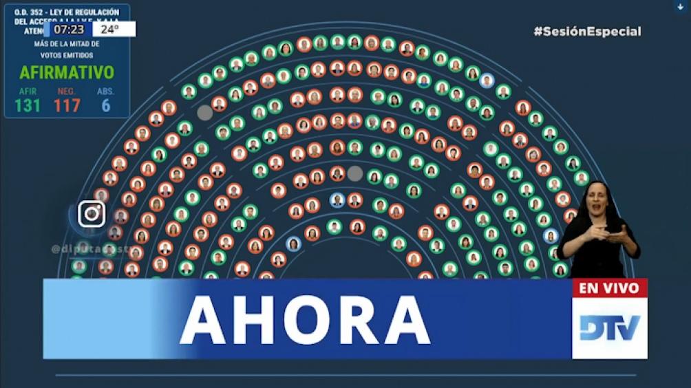 El proyecto de Ley de Interrupción Voluntaria del Embarazo recibió 131 afirmativos en la Cámara de Diputados.