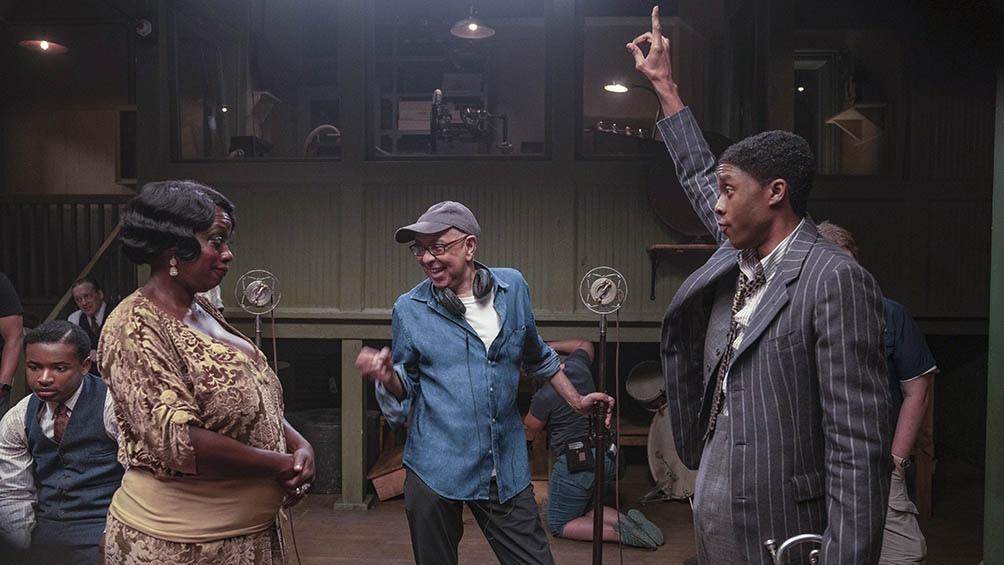 Davis, el director Wolfe y Boseman