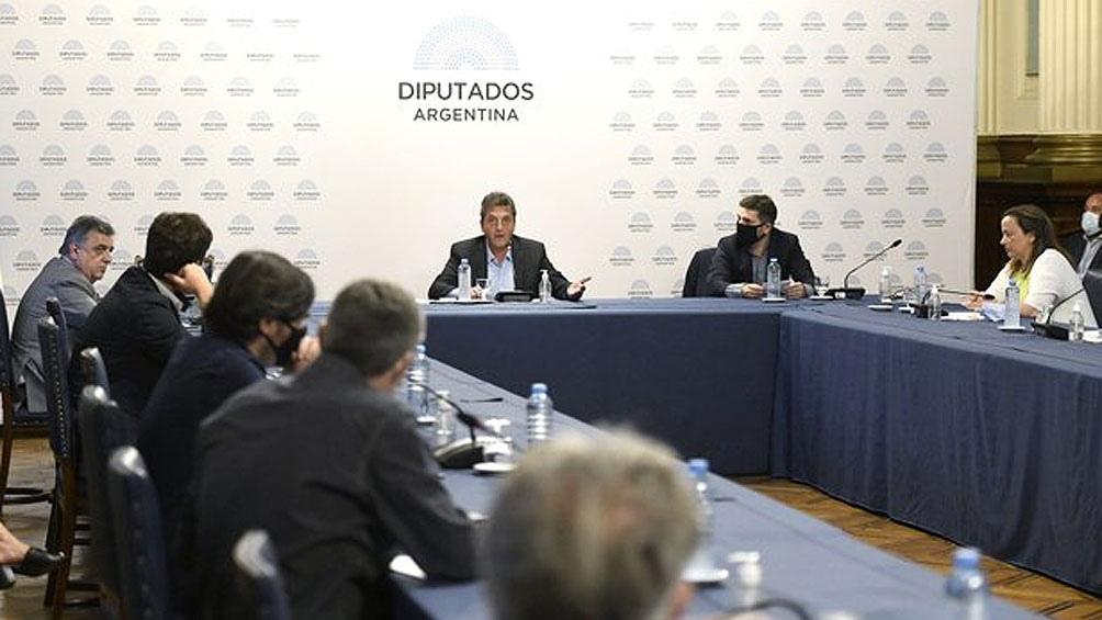 Massa y los jefes de bloque, en la reunión de Labor Parlamentaria.