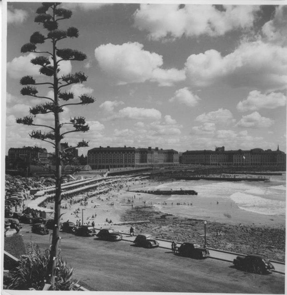 Una vista de las playas céntricas, hacia 1955, cuando los automóviles comenzaban a popularizarse. (AGN)