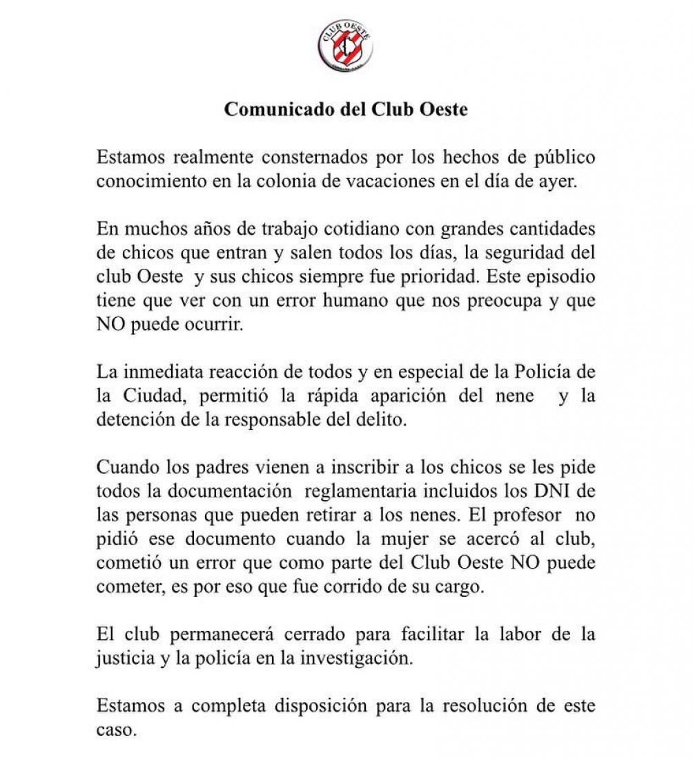 El comunicado del club.