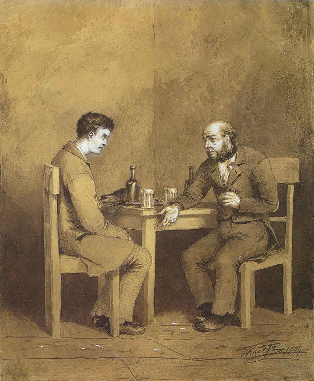 "Raskolnikov y Marmeladov ren una epresentacion de ""Crimen y Castigo""."