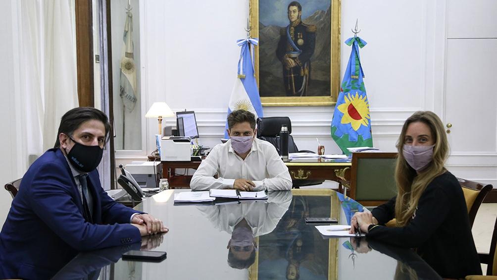 Trotta y Kicillof en una de las reuniones para coordinar la modlaidad de las clases.
